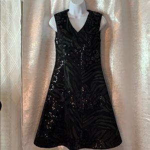 DKNY sleeveless embroidery/sequin mesh dress sz 6